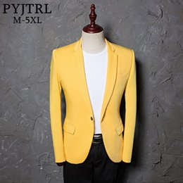 c0546945fc1 PYJTRL 2018 Mens Classic Plus Size 5XL Yellow Suit Jacket Fashion Casual  Blazer Designs Costume Homme Stage Clothes For Singers S18101902