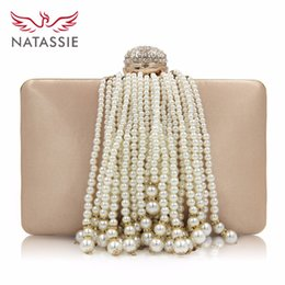 $enCountryForm.capitalKeyWord Canada - NATASSIE New Pearl Tassel Female Beaded Bags Ladies Gold Wedding Purses With Pearl Chain Girls Party Bag Evening Clutches