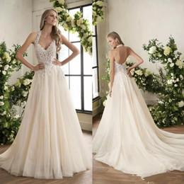 Simple Lace Wedding Dress V Neck NZ - Jasmine Lace Wedding Dresses Lace Appliqued V Neck Backless Wedding Bridal Gowns Simple Garden Country Wedding Gowns Custom Made