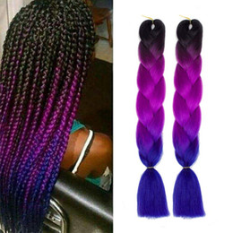 cheap crochet hair UK - Ombre Xpression Braiding Hair Cheap Two Tone Crochet Synthetic Hair Extensions 24 Inches Box Braid Kanekalon Braiding Hair