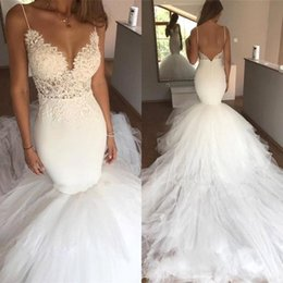 mermaid wedding lace puffy UK - New Lace Mermaid Wedding Dresses 2019 Spaghetti Straps Puffy Skirts Tulle Lace Applique Backless Plus Size Court Train Bridal Gowns BC0075
