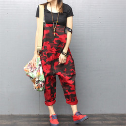 Harem Jumpsuits Women Canada - 2018 new personality camouflage printed Jumpsuit Denim pants large size female harem pants suspenders loose jumpsuit women
