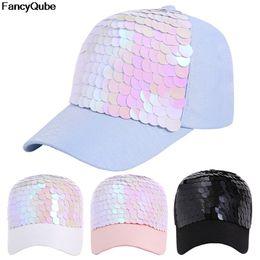 Summer Fashion Baseball Hat Women Sequin Glitter Adjustable Sun Cap Solid  Color Hip Hop Ponytail Snapback Female 29691ea96cbd