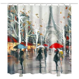shower curtain trees NZ - Impression painting Paris Shower Curtain trees leaf printed raining Tower umbrella women bathroom curtain