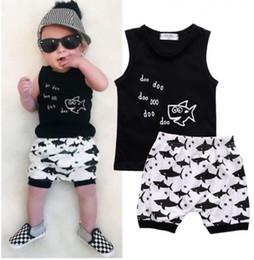 toddler fashion sets 2019 - Kids Clothing Sets Summer Baby Clothes Cartoon Fish Shark Print for Boys Outfits Toddler Fashion Tshirt Shorts Children