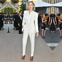 Whites Trousers For Women NZ - New white trouser suit 2 piece set women office suits for women blazer set elegant pant suits office uniform style CUSTOM