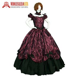 Civil War Costumes Halloween Australia - On sale 19 century Vintage Costumes Victorian Gothic Red Printing Dress Civil War Southern Belle Halloween dresses