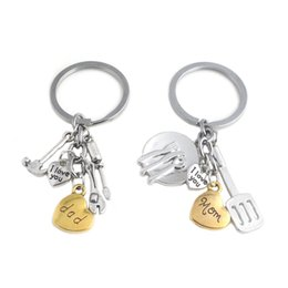 Gift ware online shopping - I Love You mom dad Keychain Heart kitchen Ware Hand Tools Key Chain Key Rings Holder Bag hangs Jewelry Mother Father Gift