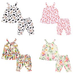 Peacock Print bohemian online shopping - Baby Girls Bohemian Clothing Sets Totems Graffiti Flower Puppy Printed Off Shoulder Sling Neck Top Lantern Pants Toddler Kids Outfits T