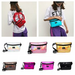 Wholesale Pink letter Fanny Pack Hologram Laser Waist Belt Bag Waterproof Translucent Shiny Travel Beach Outdoor Bags Colors