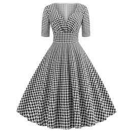 Wholesale spring skater dress resale online – Spring Women Half Sleeve Sexy V Neck Houndstooth Printed Casual Party Vintage Retro s s Rockabilly Knee Length Pin Up Skater Dress