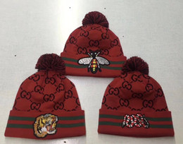 Snake baSketball online shopping - new Hight quality GC BEE TIGER SNAKE Beanies men women autumn winter beanies knitted letter embroidery casual ladies pom pom gorro
