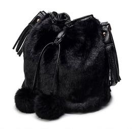 5f3aa40f86 Grandi borse di pelliccia online-Vendita calda Moda Coniglio Pelliccia con  coulisse Borse borse a