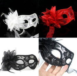 Chinese  2018 New fashion sexy Black white red Women Feathered Venetian Masquerade Masks masked ball Flower Lace Wedding mask 3colors manufacturers