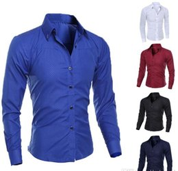mens dress clothing UK - Luxury Mens Slim Fit Shirt Long Sleeve Dress Shirts Casual Formal Business Shirts Solid Brand Clothing camisa social masculina M-4XL