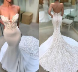 Wholesale 2018 Satin Sexy Sweetheart Lace Appliques Mermaid Wedding Dresses Sleeveless Backless Fitted Court Train Long Bridal Gowns Custom Made