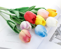 Flower For decoration wholesale online shopping - PU Tulips Artificial Flowers Real touch artificiales para decora mini Tulip for Home Wedding decoration Flowers