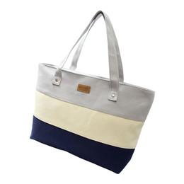 Stripe canvaS tote beach bagS online shopping - 2017 Hot Women Ladies Stripes Canvas Shopping Bags Fashion Ladies Shoulder Messenger Bag Summer Beach Handbag Brand Totes