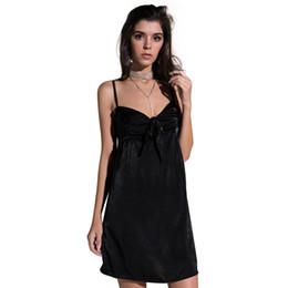 04c83e5dc18 Women Spaghetti Shoulder Straps Dress Self-tie Bow Front V Neck Mini Slip Dress  Black Robe Femme ete 2018 Vestido Sexy Clothes