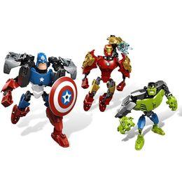 $enCountryForm.capitalKeyWord Australia - Hot sell Super Heroes Captain America Iron Man The Hulk Robot building blocks toy for Boy girl