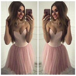 CoCktail dress pink silver online shopping - 2018 Sexy Sweetheart Pink Homecoming Dresses Sleeveless A Line Tulle Elegant Design Party Dresses Custom Made Simple Cocktail Dresses