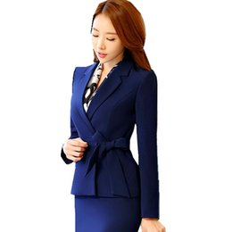 Chinese  2018 Formal Skirt Suit Bowknot Tie Full Sleeve Notched Blazer Jacket+Skirt 2 Pieces Business Office Suits Women ow0369 manufacturers