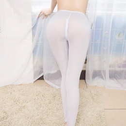 through leggings Canada - Sexy Ice Silk Transparent One-piece Leggings See Through Pencil Pants Erotic Lingerie Club Wear Zipper open the Crotch Seamless