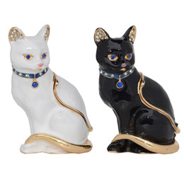 China Vintage Style Jewelry Organizer Ring Holder Animal Trinket & Jewelry Box Miniature Cat Figurine Cat Themed Gifts for Cat Lover Necklace Dish suppliers