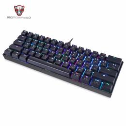 Discount backlight keyboard for tablet - Motospeed 61 Keys Mechanical Keyboard CK61 RGB LED Backlight Wired Gaming Keyboard for PC Desktop Tablets