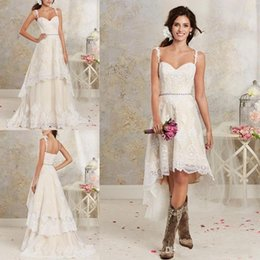 Discount sheath wedding dresses - 2018 Lace Country Wedding Dresses With Detachable Train High Low Short Bridal Dress Gown Floor length Multi Layers Garde