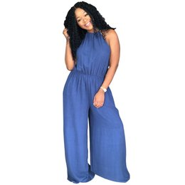 $enCountryForm.capitalKeyWord UK - Blue Summer Women Jumpsuits Bandage Overalls Outfits Halter Denim Wide-Legged Backless Casual Fashion Sexy Rompers Plus Size
