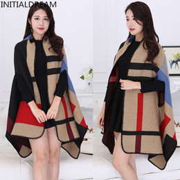 Ladies thick winter poncho online shopping - Shawl Scarf Women Autumn Winter Poncho Vintage Blanket Lady Knit Shawl Cape Cashmere Classic plaid style thick Warm Scarf S18101904