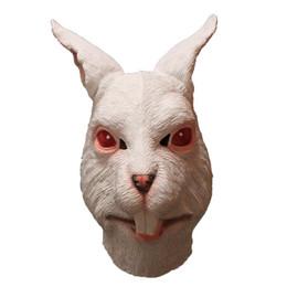 Latex rabbit mask online shopping - White Rabbit Latex Full Overhead Animal Mask Halloween Party Costume Mask