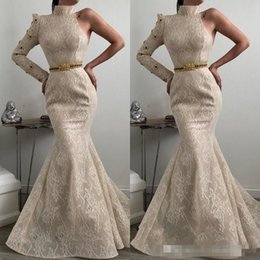 decorating lace 2020 - Elegant High-Neck Lace Prom Dresses 2019 Mermaid Long Sleeve One-Shoulder Evening Gown Gem Decorated Waist Formal Evenin