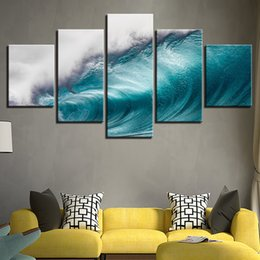 Ocean Canvas Print Art NZ - Wall Art HD Prints 5 Pieces Rolling Waves Pictures Ocean Sea Wave Seascape Modern Canvas Paintings Posters Home Decor Framework