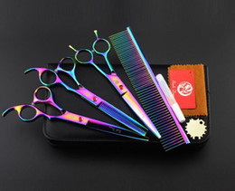 Wholesale with retail leather package purple dragon set quot professional hair scissors hair cutting scissors thinning scissors comb purple