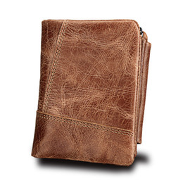 China Genuine Crazy Horse Leather Men Wallets Vintage Trifold Wallet Zip Coin Pocket Purse Cowhide Leather Wallet For Mens SD card cheap genuine sd cards suppliers