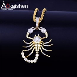$enCountryForm.capitalKeyWord NZ - Animal Scorpion Hip Hop Pendant With Tennis Chain Gold Silver Color Bling Cubic Zircon Men's Necklace Jewelry For Gift