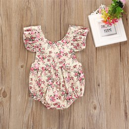 $enCountryForm.capitalKeyWord NZ - Summer Newborn Baby Girls Clothes 2018 Backless Floral Ruffles Sleeve Romper Jumpsuit Baby Body Suits Sunsuit Infant Toddler Girls Clothing