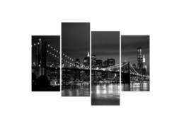 Черно-белый Нью-Йоркский мост 4 шт. Home Decor HD напечатанная современная художественная живопись на холсте (без рамы / в рамке)