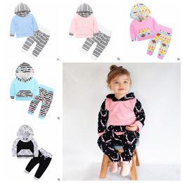 Discount kids floral hoodies - Ins Baby Clothes Sets Flower Deer Printed Outsuits Kids Hooded Coat Pant Set Floral Hoodie Pants Outfit Kid Designer Clo