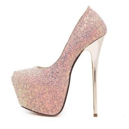 Zapatillas rosa sexy para mujer 16 cm tacones extremos zapatos paillette plataforma  tacones blanco bombas azul negro tacones 691d74e2eef1