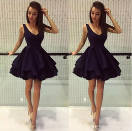 Black short puffy homecoming dress online shopping - Simple Black Puffy Short Party Dresses A Line Deep V Neck Satin th Grade Prom Dresses Homecoming Dresses