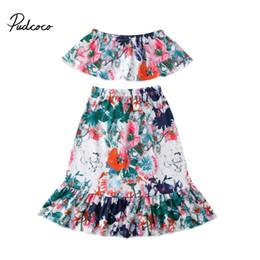 $enCountryForm.capitalKeyWord Canada - Pudcoco Brand Kids Clothes Summer Kids Girls Floral Clothes Off shoulder Crop Tops Flower Boho Skirt Outfits Set