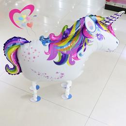 Venta al por mayor de Walking Rainbow Unicorn Balloon Cartoon Animales Foil Balloon Para Decoraciones de Fiesta de Cumpleaños Niños Juguetes Al Por Mayor