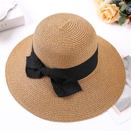 Boater Hat Men Canada - Lady Boater sun caps Ribbon Round Flat Top Bucket  Straw beach 4fb911b99f18