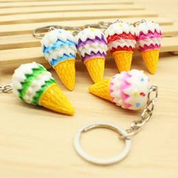 Discount phone kid - 4cm Simulation Food Colorful Ice Cream Keychain Phone Straps Handbag Pendant Decoration Kids Toy Friend Gift