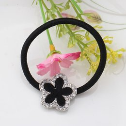 Shiny black hair online shopping - 1PC Simple Girls Black Flower Scrunchy Elegant Women Floral Hair Ring Gum Accessories Elastic Hair Band With Shiny Rhinestone