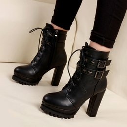 Thick heeled riveT marTin booTs online shopping - 9cm Chic buckle rivets knight boots sexy women thick high heel platform shoes black Pu leather size to
