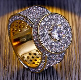 gold iced out NZ - Top Quality Custom Cluster Iced Out Cubic Zirconia Micro Pave Bling Bling Rings 18K Gold Plated Simulated Diamonds Hip Hop Ring